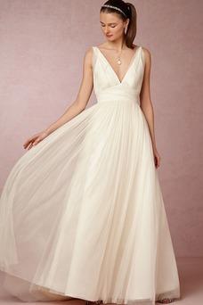 Robe de mariée Avec voile Printemps Appliques Col en V Traîne Courte
