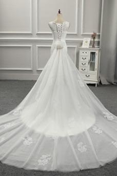 Robe de mariée Lacet Plage Tulle Automne Classe Col U Profond