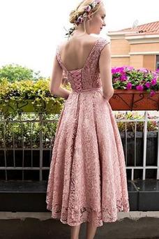 Robe de cocktail Romantique Printemps Sans Manches Lacet Longueur Mollet
