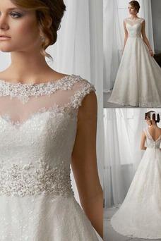 Robe de mariée Sans Manches Mancheron Chic Col Bateau Milieu A-ligne