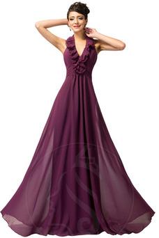 Robe de fête A-ligne Simple Lacet Traîne Courte Mousseline Fourreau plissé