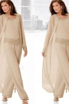 Robe mère de mariée 2 Pièces Avec la veste Mousseline Manche Longue Manche Bishop