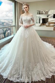 Robe de mariée Pompeux Taille Naturel Dentelle Manche Courte Lacet