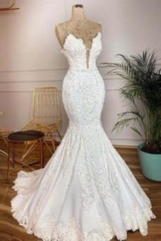 Robe de mariée Sirène Zip Chic Col en V Foncé Col en V Longueur ras du Sol