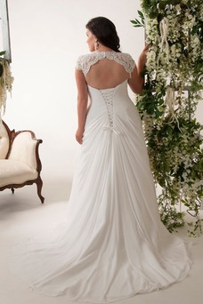 Robe de mariée Modeste Mancheron Trou De Serrure Manche Courte Traîne Courte