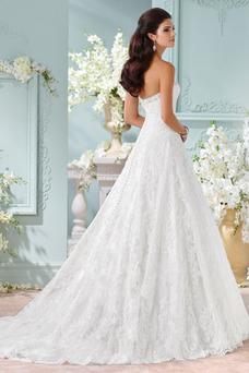 Robe de mariée Tissu Dentelle Taille Naturel Classe A-ligne Cristal