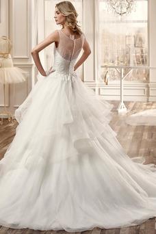 Robe de mariée Sans Manches Col Bateau Formelle Eglise Zip Mode de Bal