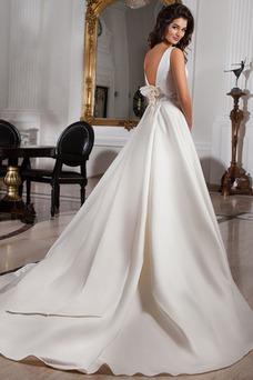 Robe de mariée A-ligne Salle Cristal Formelle Col Bateau Printemps