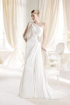 Robe de mariée A-ligne Manche Courte Avec voile De plein air Ruché