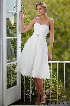 Robe de mariée Tissu Dentelle A-ligne Été De plein air Zip Sans Manches