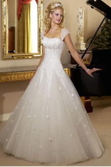 Robe de mariée Lacet Col Élisabéthain Taille Naturel A-ligne Longue