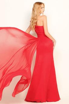 Robe de soirée Automne Rouge Sans Manches Petites Tailles Épaule Asymétrique