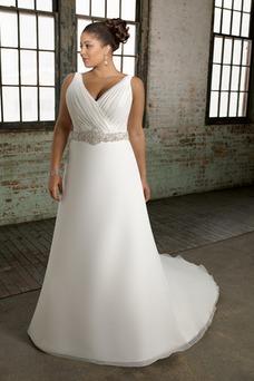Robe de mariée Perle Organza Haut Bas A-ligne Fourreau plissé Col en V