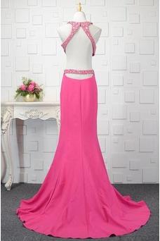 Robe de bal Satin Élastique Colorful Fourreau Avec Bijoux Longue
