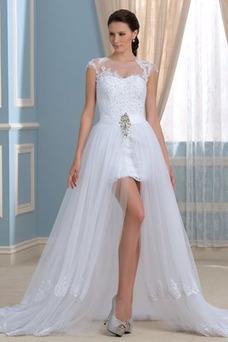 Robe de mariée Asymétrique Couvert de Dentelle Tulle Col Bateau Gaze