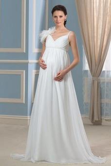 Robe de mariée Zip Mousseline Col en V Empire Fourreau plissé Au Drapée