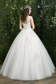 Robe de mariée A-ligne Trou De Serrure Longueur Cheville Mancheron
