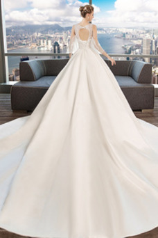 Robe de mariée Col en V Foncé Col en V A-ligne Taille Naturel Fleurs