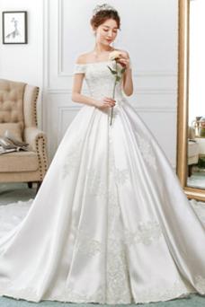 Robe de mariée A-ligne De plein air Formelle Couvert de Dentelle Manche Courte