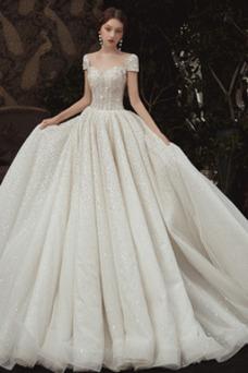 Robe de mariée Tulle Manche Courte Traîne Royal Manche de T-shirt
