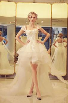 Robe de mariée Courte devant longue derriere Asymétrique Taille Naturel