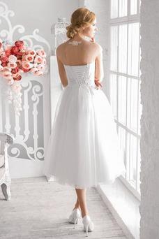 Robe de mariée Plage Mancheron Lacet Col ras du Cou Taille Naturel