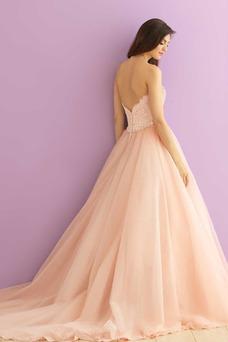 Robe de mariée Sans Manches Col en Cœur Modeste Tulle De plein air