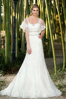 Robe de mariée A-ligne Manche Courte Taille Naturel Col U Profond