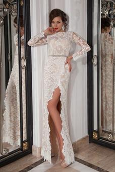 Robe de mariée Fourreau Traîne Courte Tissu Dentelle Manche Longue