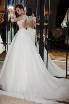 Robe de mariée Longue Manche Aérienne Col ras du Cou Tulle Princesse