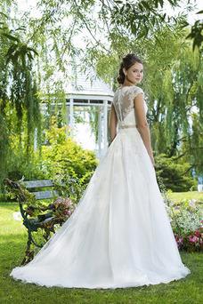 Robe de mariée Vintage Manche Courte Col Bateau Zip Mancheron A-ligne