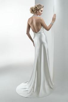 Robe de mariée Salle Longue Licou Appliques Été Taille Naturel