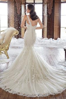 Robe de mariée Taille Naturel Épaule Asymétrique Traîne Mi-longue