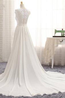 Robe de mariée Taille Naturel Gaze Appliques Couvert de Dentelle Manquant