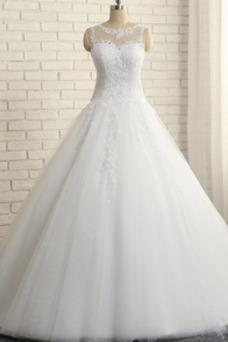 Robe de mariée Col Bateau Automne Sablier Sans Manches Dentelle A-ligne