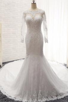 Robe de mariée Sirène Taille Naturel Épaule Dégagée De plein air Manche Longue