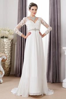Robe de mariée Empire De plein air Été Gaze Manche Longue Manche Aérienne
