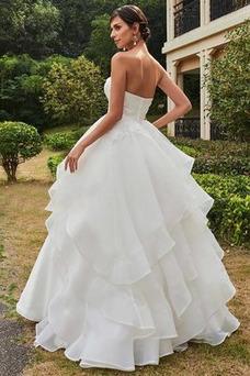 Robe de mariée Bustier A-ligne Zip Taille Naturel Multi Couche Satin