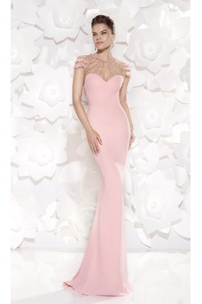 Robe de soirée Sirène Perle Automne Sans Ceinture Milieu Manquant