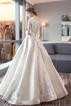 Robe de mariée Manquant Elégant A-ligne Taille Naturel Mancheron Foisonné