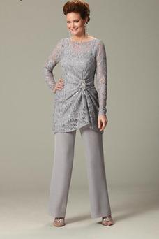 Robe mère de mariée Longueur Cheville Manche de T-shirt Pomme Cristal Col Bateau