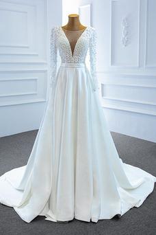 Robe de mariée Lacet Col en V Manche Longue Satin A-ligne Perles