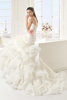 Robe de mariée Sirène Ample & Ornée Organza Longue Zip Taille Naturel