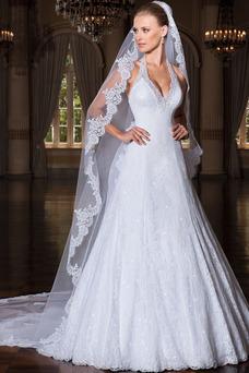 Robe de mariée Salle Dentelle Zip Taille Naturel Longue Licou