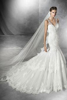 Robe de mariée Taille Naturel Sans Manches Zip Chic Longue Col en V