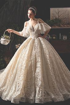 Robe de mariée Taille Naturel Mancheron Formelle Lacet Couvert de Dentelle