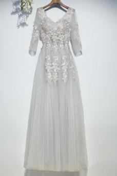 Robe demoiselle d'honneur Taille Naturel Lacet Triangle Inversé Couvert de Dentelle