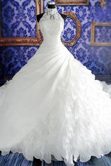 Robe de mariée Col haut Sans Manches Zip Organza Automne Traîne Royal