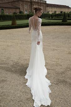 Robe de mariée Sirène Été Salle Manche Aérienne Manche Longue Dentelle