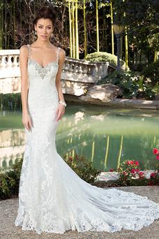 Robe de mariée Tulle Zip Sirène Plage Appliques Sans Manches